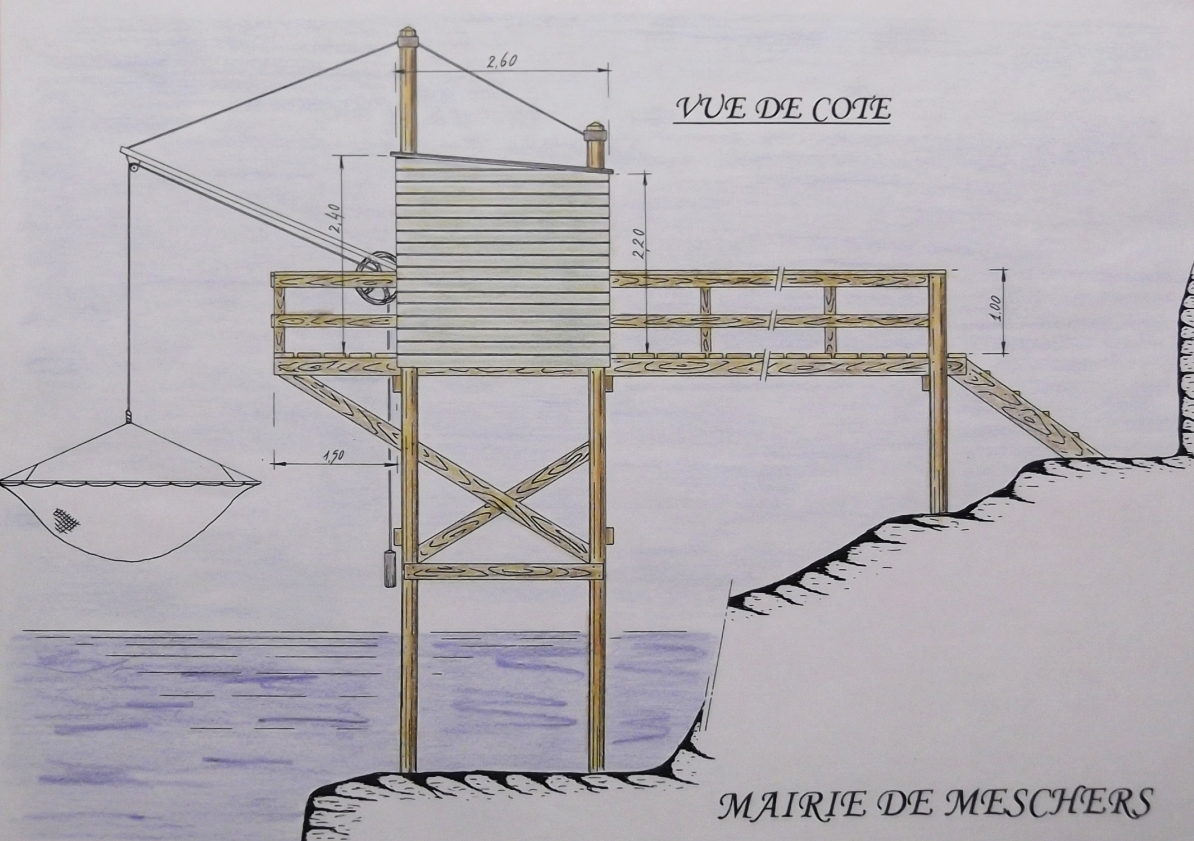 Plan type de construction d'un carrelet, vers 2000. Commune de Meschers-sur-Gironde.