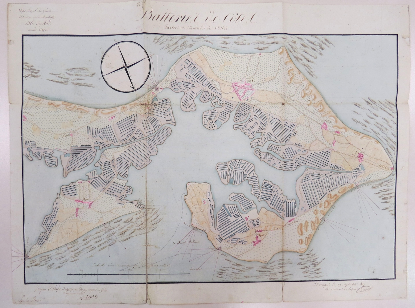 Situation des batteries de la partie occidentale de l'île de Ré, 1817. Archives départementales de la Charente-Maritime, 12 J 121.