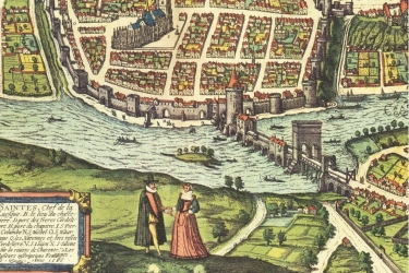 La ville de Saintes et son pont dessinés par Joris Hoenfnagel, en 1560. L'arc de Germanicus se trouve alors sur le pont. Braun, Georg, Hogenberg, Franz. Civitates Orbis Terrarum V17, Volume V, 1ere édition, 1598.